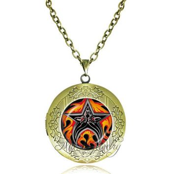 Flames Wiccan necklace personality pentagram locket jewelry Pentacle Occult pendant choker necklace glass art picture necklaces