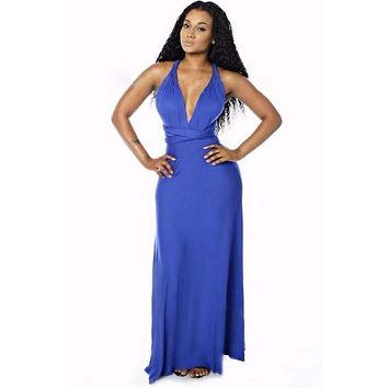 Blue Bandage Long Sexy Multi-way Convertible Maxi Dress