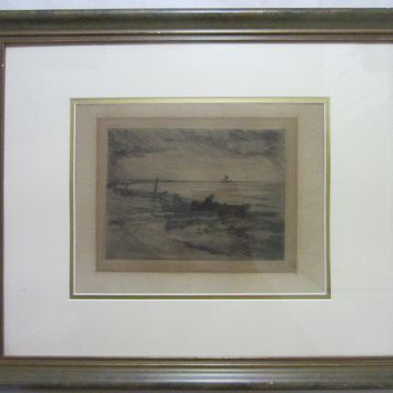 Harbor View Charcoal Drawing Signature Marine Guache