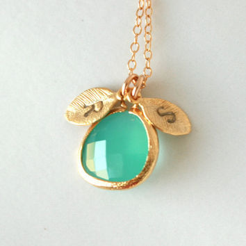 Cusomize initial necklace aqua blue in bezel gold by DelicacyJ