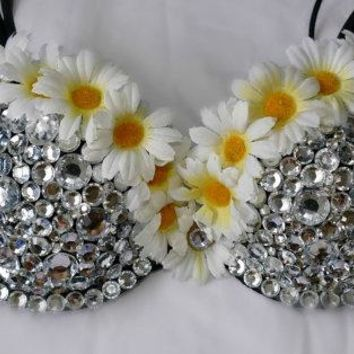 "Crystal & Flowers ""Daisy Love"" Multiway Bra In Black"