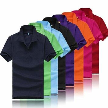 Mens Solid Color Polo Shirt Clothing Tops Short Sleeve For WoMens