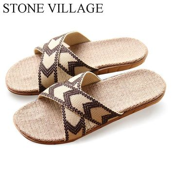 High Quality The New Summer Home Slippers Flax Men Slippers Mixed-Colors Indoor Shoes Lovers Non-Slip House Slippers