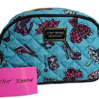 Betsey Johnson Large Loaf Dome Cosmetic Bag - Fashion / Turquoise Diamond Quilt