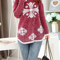 Red and White Design Pullover Sweater