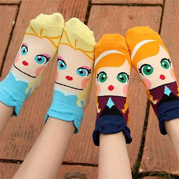 Recommend !!cartoon socks women spring summer and autumn female funny sock high quality cotton 3d patterned socks for lady girls
