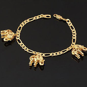 Trunk Up Gold Elephant Charm Bracelet, DST
