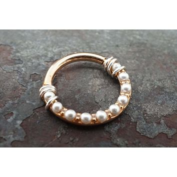 White Pearl Rose Gold Hinged Hoop, 16g Clicker