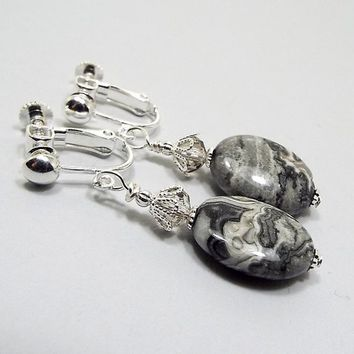 Clip on Earrings, Silver Crazy Lace Gemstone Earrings, Silver Plated, Oval Drop, Gray Marbled, Boho Earrings, Gift for Her, Screw Back