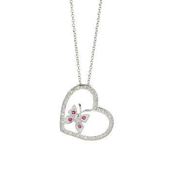 Ruby Heart Necklace 925 Sterling Silver Plated 844035bc69