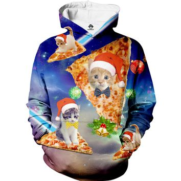 Christmas Cat Pizza Hoodie