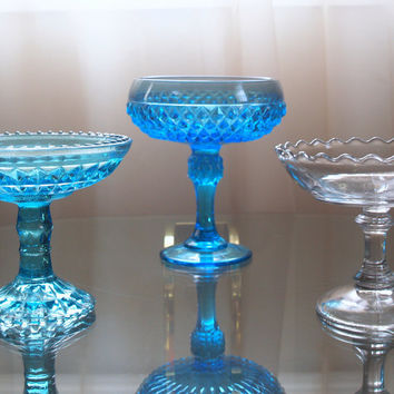 ANTIQUE COMPOTE TRIO Instant Collection of Vintage Collectible Glassware Indiana Diamond Point Blue Turquoise and Clear Glass
