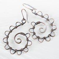 Copper Wirework Earrings - Wire Wrapped Antiqued Copper Spirals with Petals
