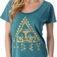 Obey Girls Native Triangle Mineral Green Dolman Tee Shirt at Zumiez : PDP