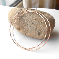 Large Rose Gold Hoop Earrings, Hammered Rose Gold Filled Hoops, Minimalist Wire Earrings