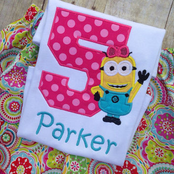 Despicable Me Birthday Shirt, Girls Despicable Me Birthday Shirt with Optional Skirt and Bow, Any Name, Any Number, Minion Birthday Shirt