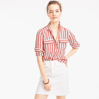 Petite button-up shirt in striped cotton-linen