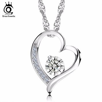 Heart shape silver pendant/necklace For Women