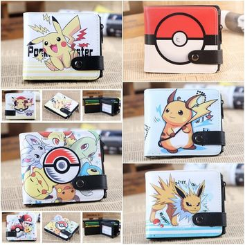 Anime  Pikachu Poke Ball wallet One Piece Law Naruto My Neighbor Totoro Death Note L Button Short purse cosplay cartoonKawaii Pokemon go  AT_89_9