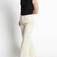 Vintage 70s Ivory White High Waist Cropped Wide Leg Big E Levis Pants | 4/6