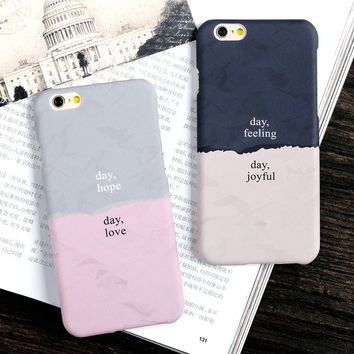 Stylish Iphone 6/6s Hot Deal On Sale Cute Apple Iphone Patchwork Matte Couple Korean Phone Case [8423716161]