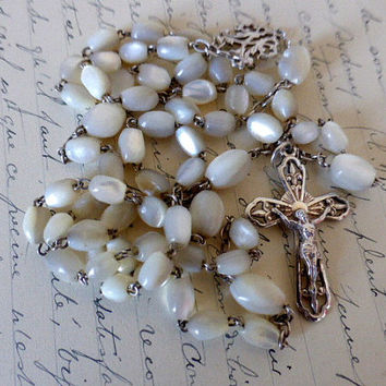 Antique French Silver & Mother Of Pearl Rosary