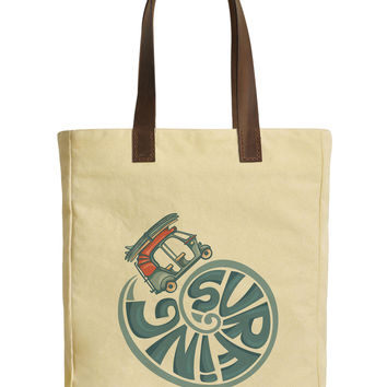 Rickshaw With Surfboards Beige Printed Canvas Tote Bags Leather Handles WAS_30