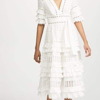 Juni White Ruffled Tired Midi Dress