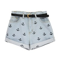 Boyfriend Denim Shorts with Anchor Embroidery