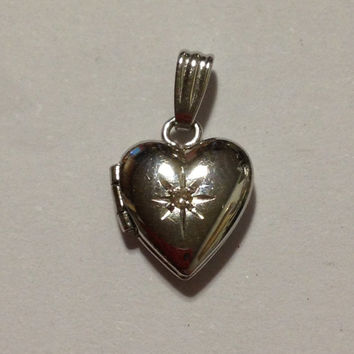 Diamond Heart Locket 14K White Gold Pendant Vintage Jewelry 80s Christmas Holiday Birthday Anniversary Mother's Valentine's Day Gift Love