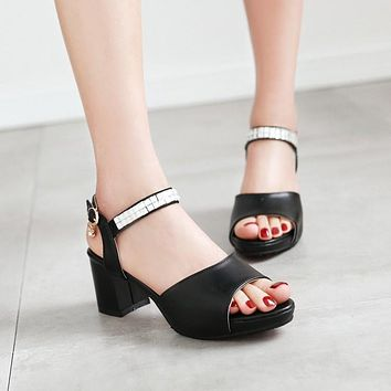 Open Toe Rhinestone Ankle Straps Sandals Chunky Heel Pumps 2896