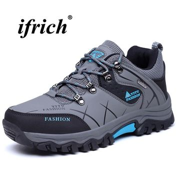 Hiking Shoes Large Size 39-47 Outdoor Footwear Rubber Sole Tactical Shoes Gray Khaki Male Sport Sneakers Non Slip Mountain Shoes