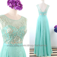 Mint Straps Lace and Chiffon Prom Dresses, Long Mint Prom Gown, Long Mint Lace Formal Gown, Long Wedding Party Dresses