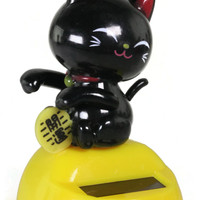 Solar Waving Black Fortune Cat
