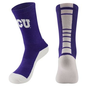 Mojo TCU Horned Frogs Champ 1/2-Cushion Performance Crew Socks - Men, Size: 10-13 (Purple)