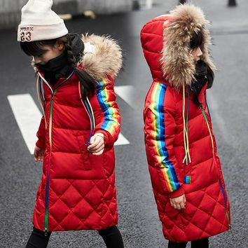 Winter Coat Girl Real Fur Collar Hooded Kids Overcoat Children Outerwear Winter Jackets Coats For Girls Thick Long Parka 5-13 Y