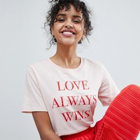 Monki Love Always Wins T-Shirt at asos.com