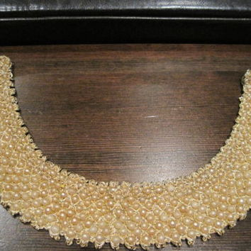 Faux Pearl Collar Hand Made By Top Hit Fashion Baar & Beards Inc Japan Gold tone