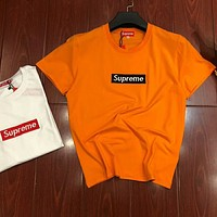 Supreme men's and women's couples tide brand round neck new bottoming shirt F-MG-FSSH Orange