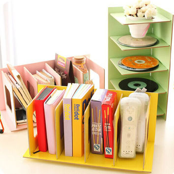 DIY Wood Board Storage Box Desk Decor Stationery Office Desk Organizer New  DVD CD Rack Korean Wooden Shelf