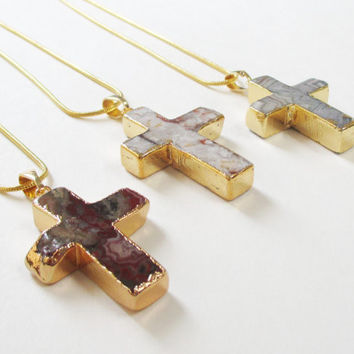 Brecciated Jasper Cross Necklace, Natural Mexican Jasper Cross Pendant Necklace, Gold Dipped Jasper Cross Necklace, Confirmation, Prom Gift