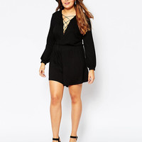 Plus Size Black Long Sleeve Strappy V-Neck Romper
