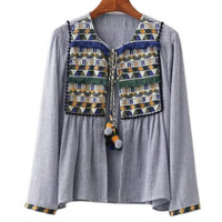 Long Sleeve Tasseled Embroidered Detail Blouse