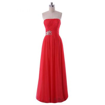 Charming Chiffon Strapless A Line Long Prom Dresses Backless Appliques Floor Length Prom Dress