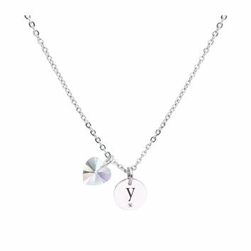 Dainty Initial Necklace made with Crystals from Swarovski - Y fc93f0f9ab