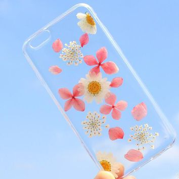 pink petals and daisy case 100 handmade dried flowers cover for iphone 7 7plus iphone 6 6s plus gift box b61  number 1