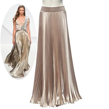 Bright Satin Long Pleated Skirt