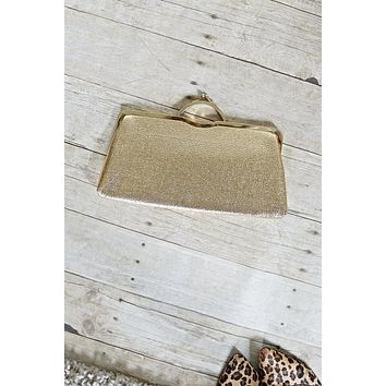Vintage Metallic Gold  Kisslock Clutch