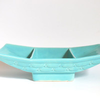 1956 Mod Aqua Divided Pedestal Dish by Belvedere of California Pottery Signed