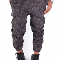 Leaf Drop Crotch Jogger Pants (Black)